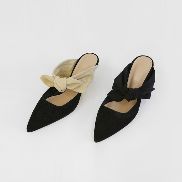 피팅슈즈 SALE ribbon suede-mule